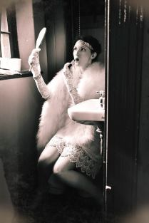 1920s flapper in the bathroon