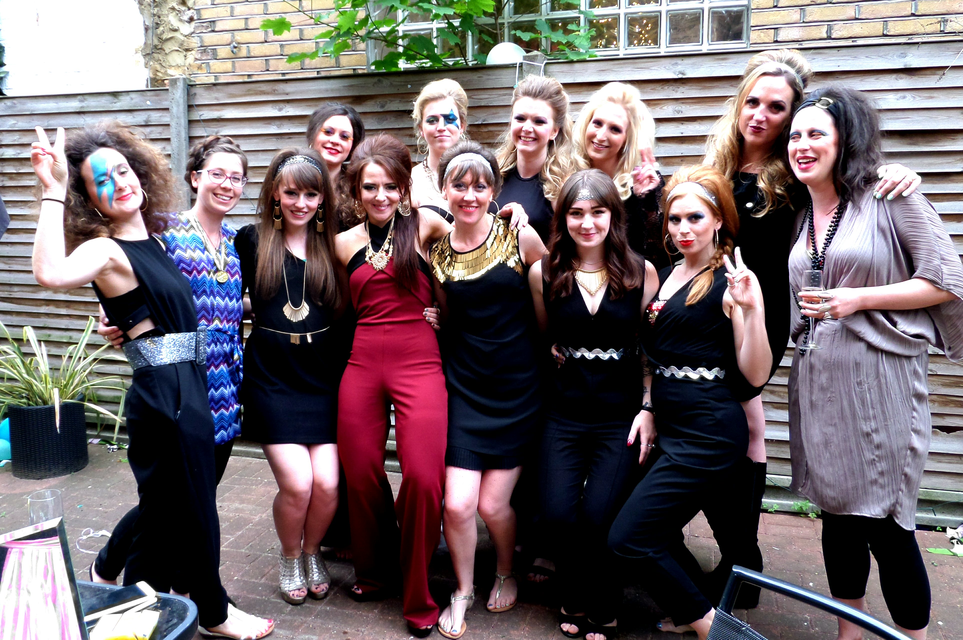b45313ae7aaf5 A seventies disco hair and make up hen party - Charleston Dance ...
