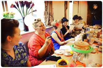 The hens having afternoon tea