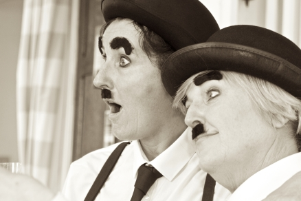 Hens dressed as Charlie Chaplin, or is it Laurel and Hardy?