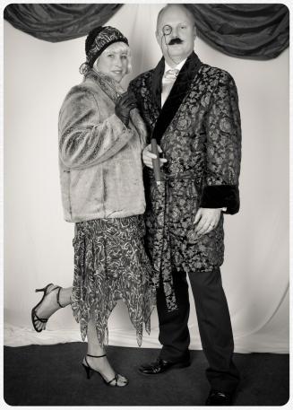 1920s smoking jacket costume and 1920s handkerchief hemline dress